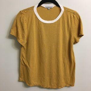 Striped gold ringer soft tee